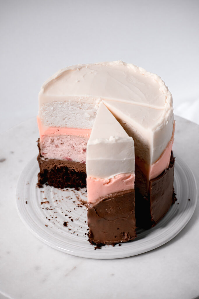 neapolitan cake with swiss meringue buttercream