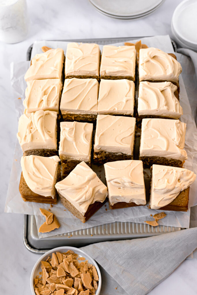Spiced Brown Sugar Snack Cake with Whipped Caramelized White Chocolate Ganache