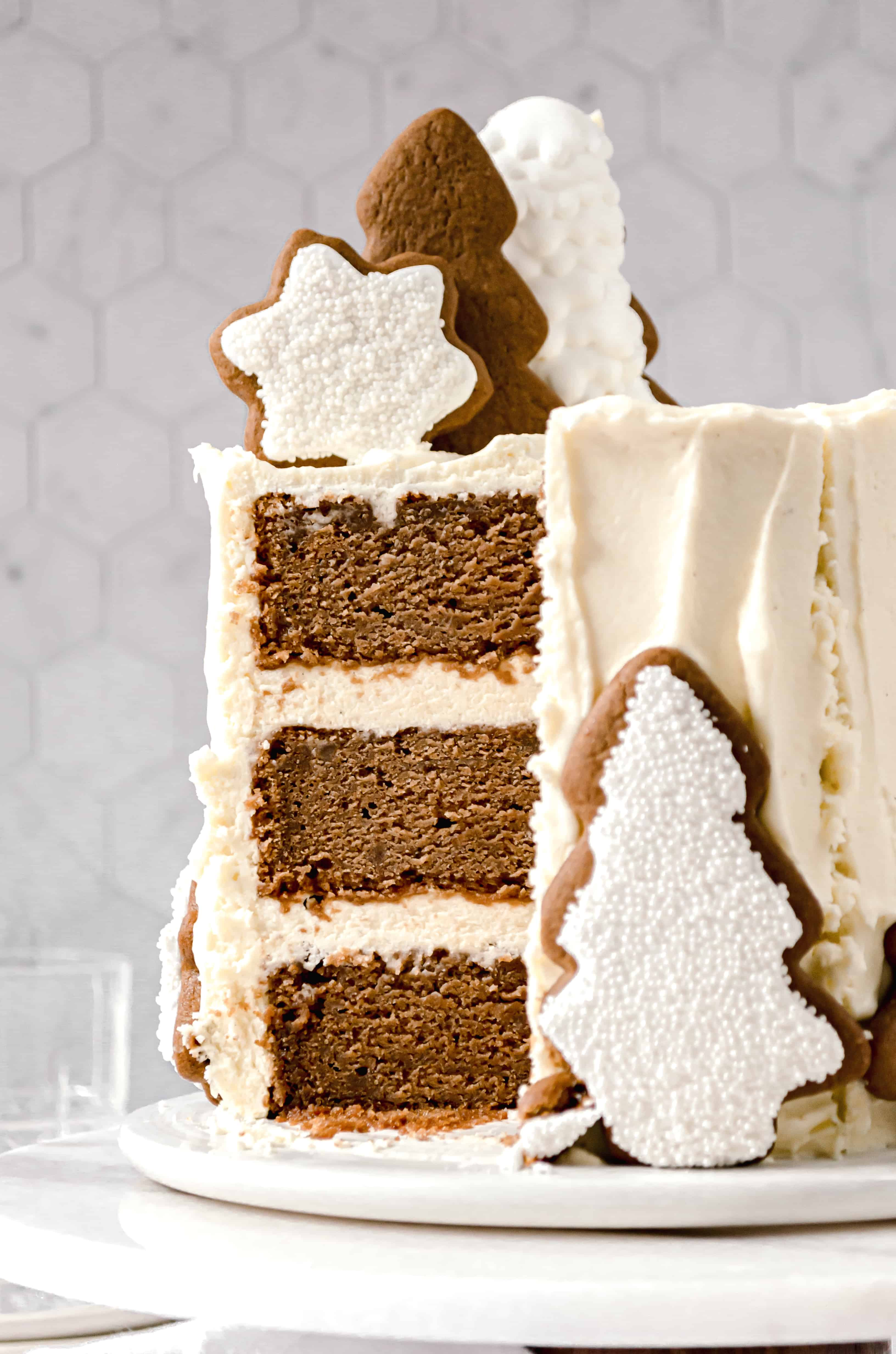 close-up of gingerbread layer cake with cream cheese german buttercream
