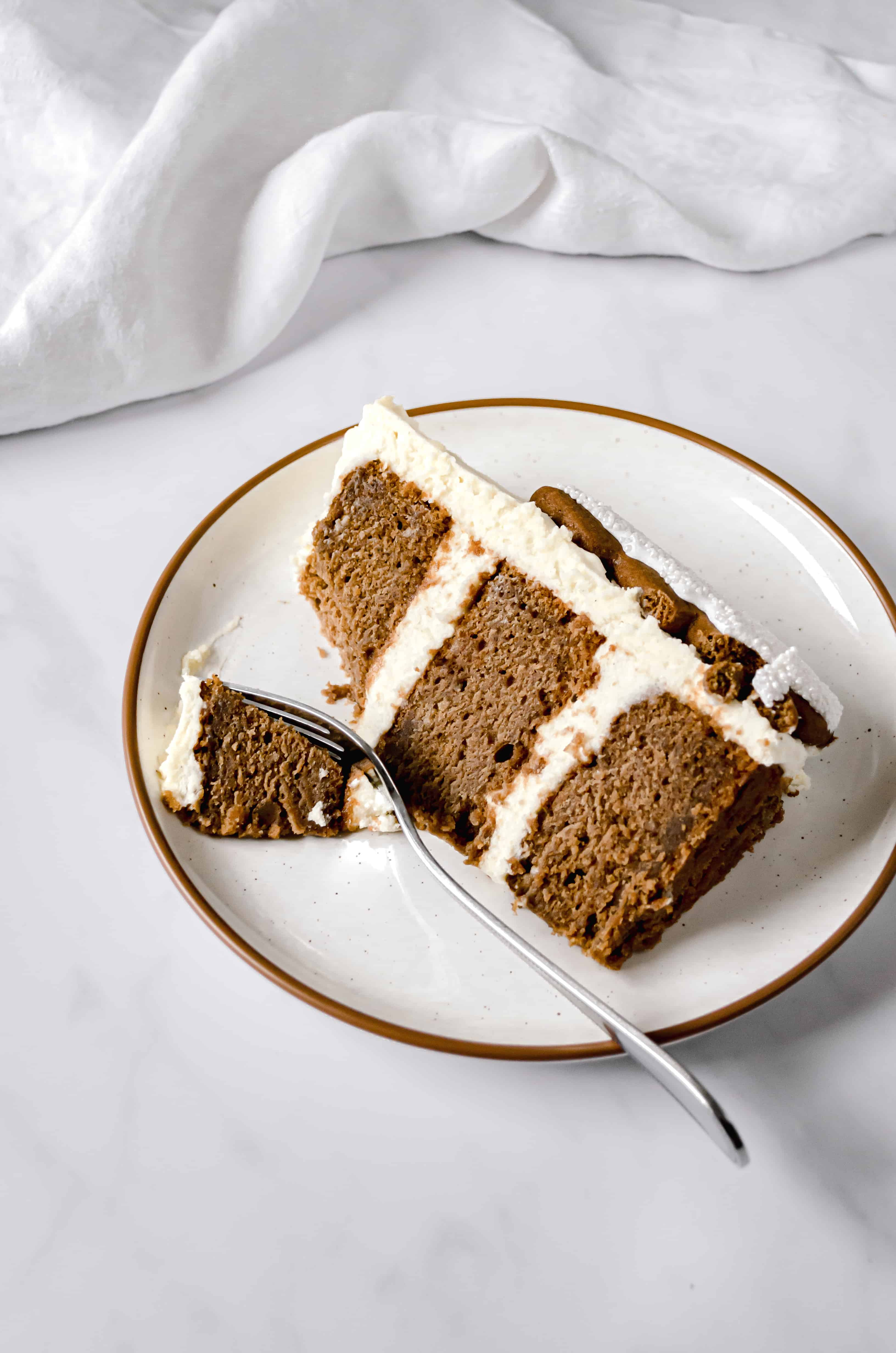 one slice of gingerbread layer cake on white plate
