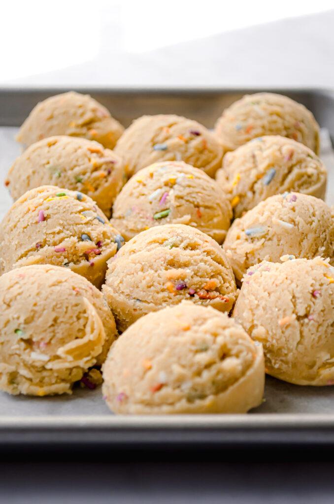close-up of birthday cake cookie dough balls