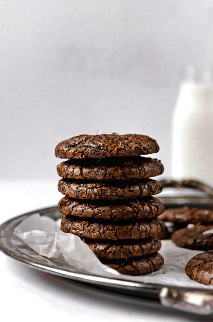 stacked fudgy mocha brownie cookies on silver tray