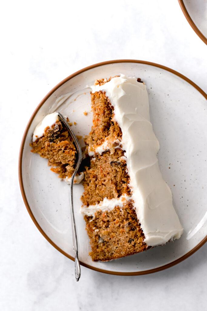 slice of ginger sauerkraut carrot cake on white plate