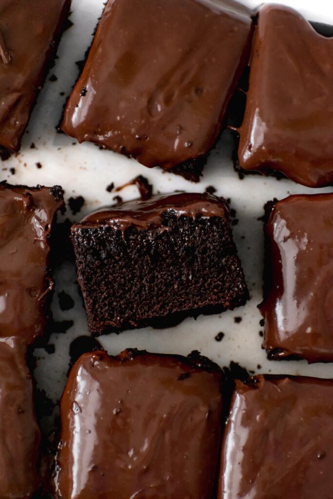dark chocolate malt snack cake with chocolate malt frosting