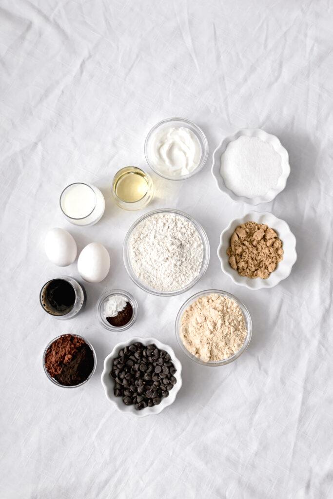 ingredients for dark chocolate malt snack cake
