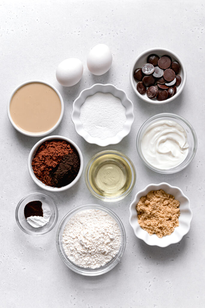 ingredients for double chocolate tahini muffins