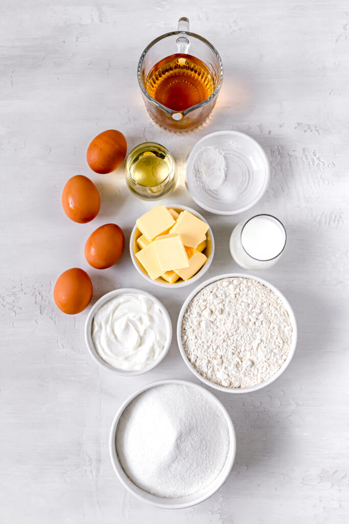 ingredients for caramel rum bundt cake