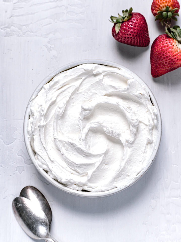 mascarpone frosting in white bowl