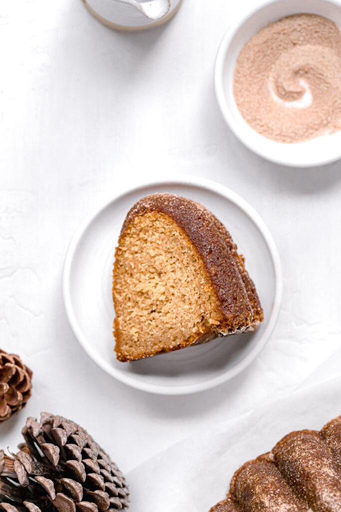 slice of bundt cake on white plate