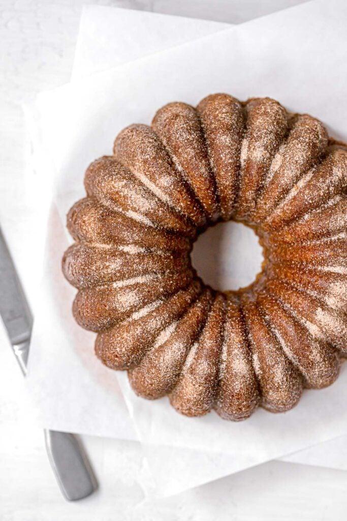 overhead view of bundt cake