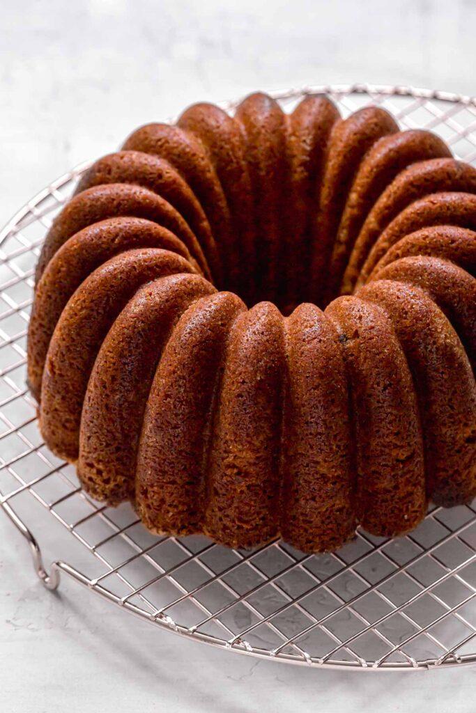 bundt cake on cooling rack