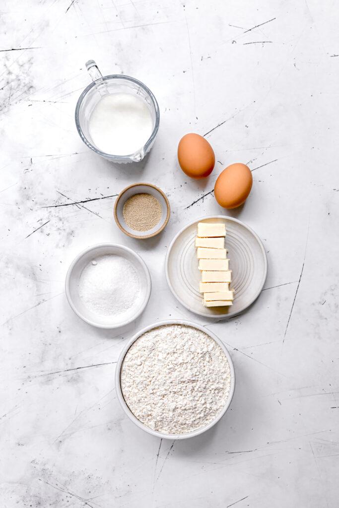 ingredients for chocolate brioche recipe