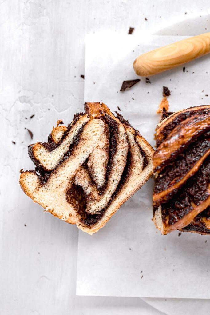 one slice of chocolate babka
