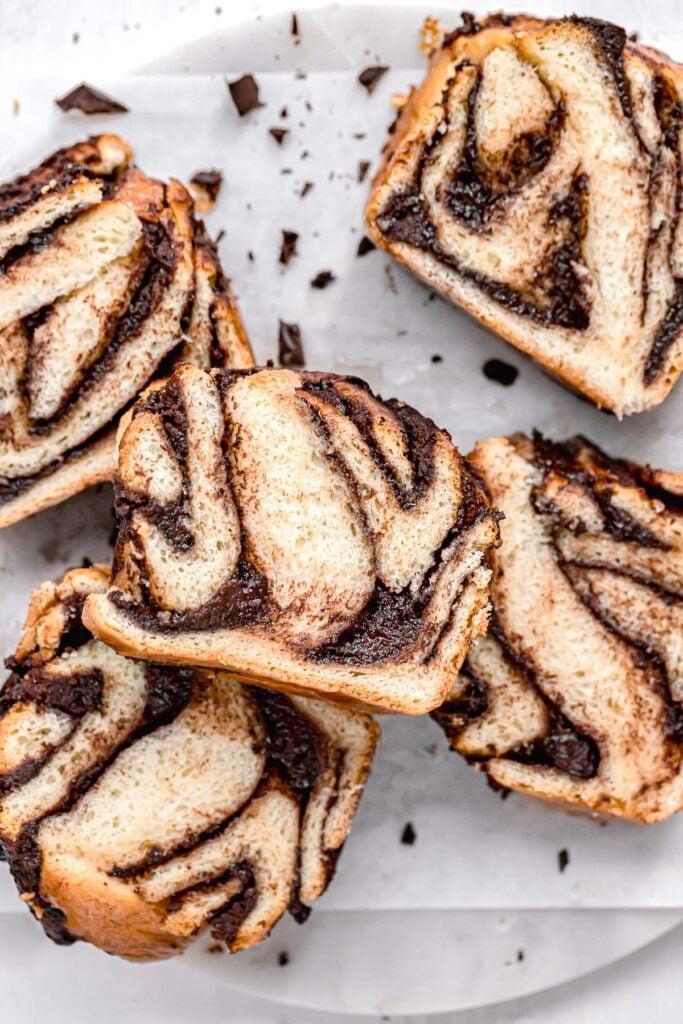 slices of chocolate tahini babka