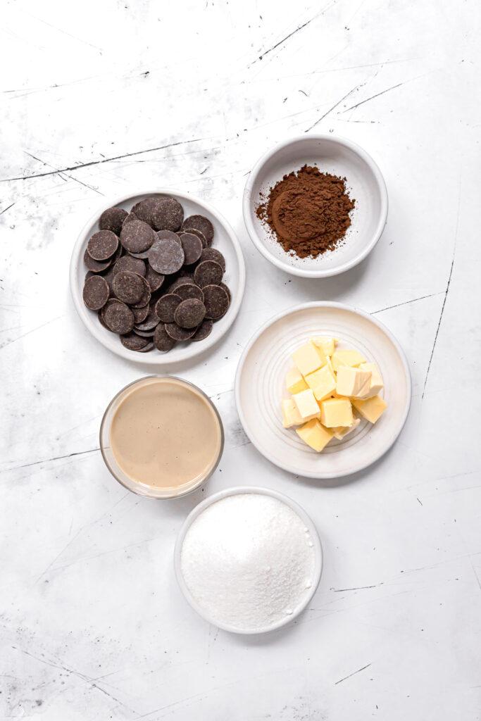 ingredients for chocolate tahini filling