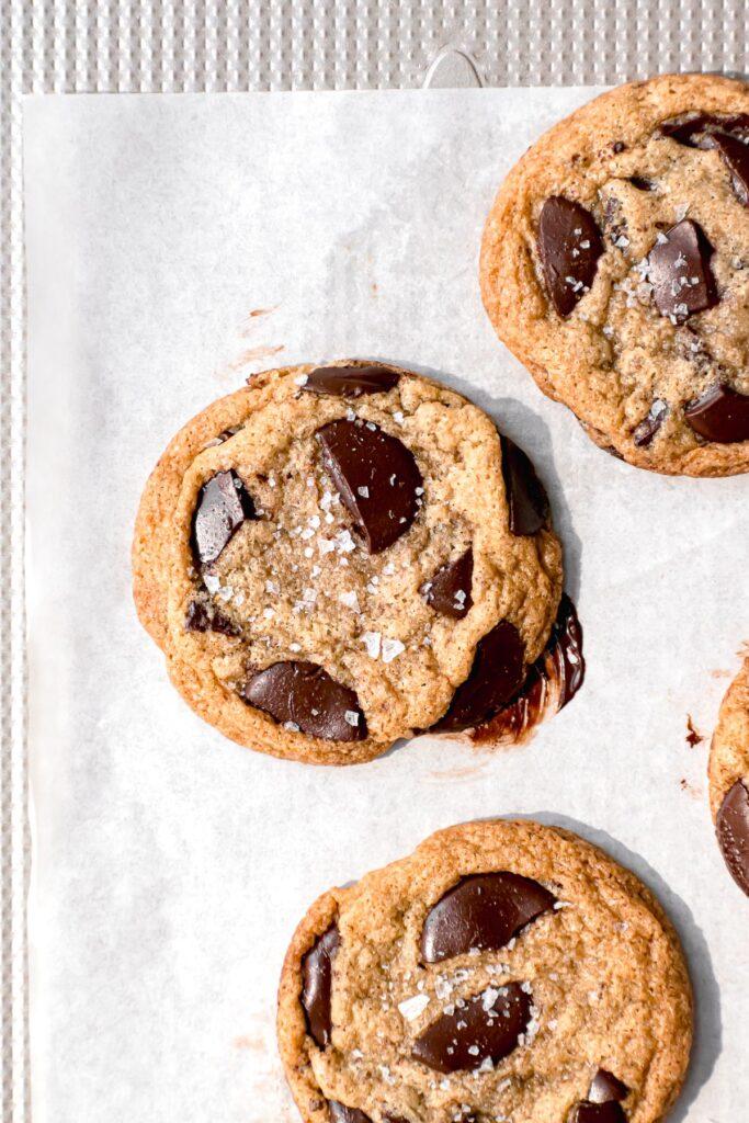 gluten free chocolate chip cookies on baking sheet
