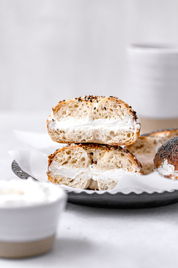 everything bagel with cream cheese stacked