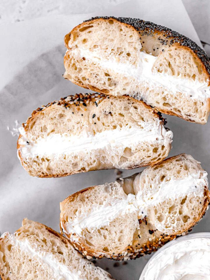 new york style bagels with cream cheese on plate
