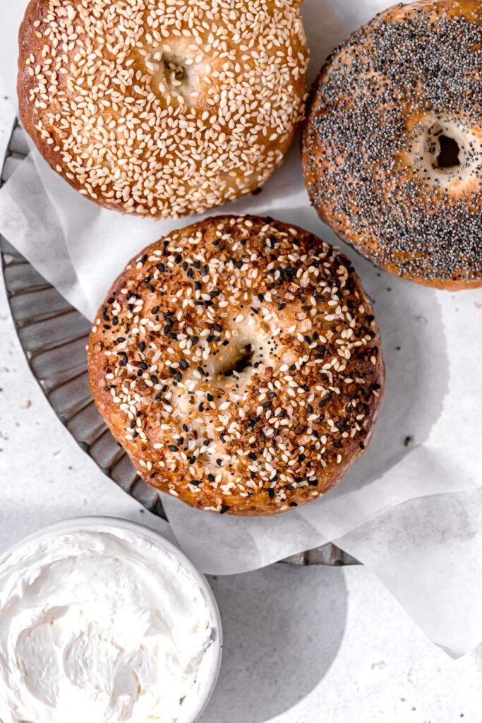 three ny style bagels with everything bagel seasoning, sesame seeds, and poppy seeds