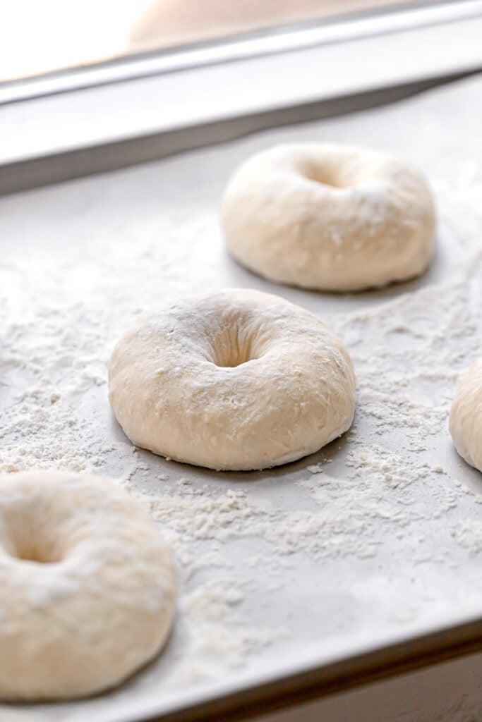 shaped bagel dough on baking sheet by window