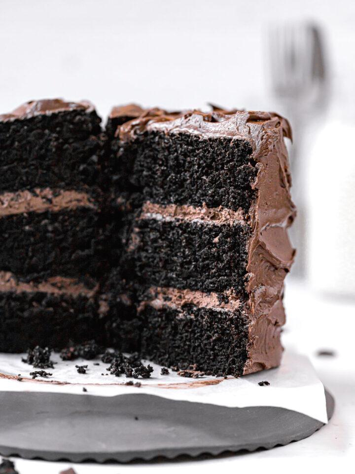 black velvet cake sliced to show inside texture