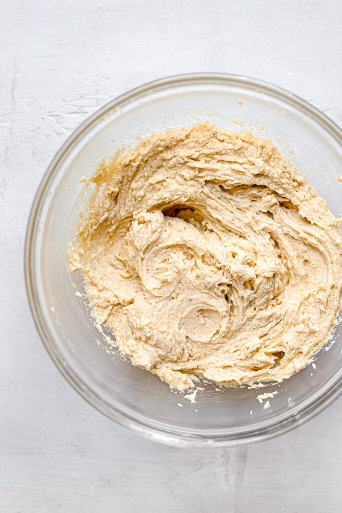 egg beat into butter, sugar mixture